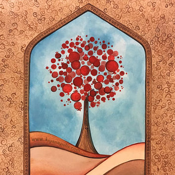 Pomegranate Tree painting, Sunset painting, abstract tree, Persian art, pomegranate art, abstract art, moon painting, made in canada