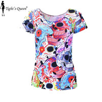 X-183 Skull Head Punk Day of the Dead Print Women Summer Top T-shirts Punk Clothing