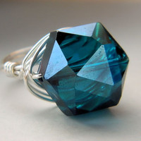 Teal Sapphire Ring. Jewelry - Blue, Teal, Glass, Big, Silver, Heavy, Feminine, Atractive, Valentine's Day, Aqua, Jewelry Rings, Cocktail