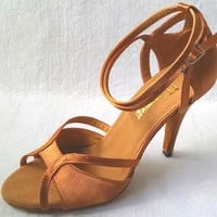 New Women Tan Satin Ballroom Latin Dance Shoes Salsa Dance Shoes Latin Salsa Dancing