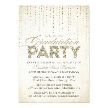 Best sparkly invitations products on wanelo sparkly gold glitter graduation party invitation from zazzle filmwisefo