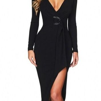 Chic Black Faux Wrap V Neck Long Sleeve Midi Dress