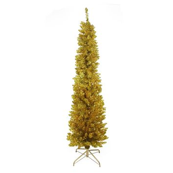 "6' x 20"" Gold Artificial Tinsel Pencil Christmas Tree - Unlit"