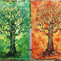 2 Tapestries Tie Dye Twin Tree Mandala Bohemian Wall Hanging Yoga Mat Bedspread