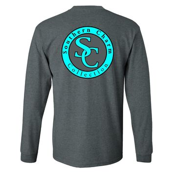 Southern Charm Collection Logo on a Dark Heather Long Sleeve T Shirt