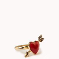 FOREVER 21 Heart & Arrow Ring Gold/Mint 7