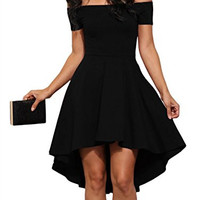 Sidefeel Women Off Shoulder Sleeve High Low Skater Dress