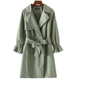 Basic pearls double breasted long trench coat bow tie army green pockets flare sleeve autumn casual outerwear