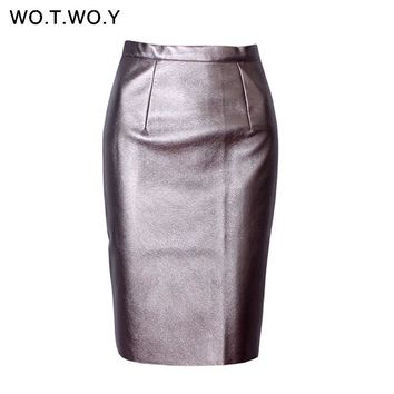 High Waist Leather Skirt Women Slim Office Pencil Skirts Knee Length Back Zipper Slit Women Midi Skirt Black Red