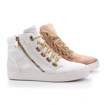 Vienna1 Gold Fabric By Liliana, Shimmering Round Toe Chain Lace Ankle Fashion Sneakers