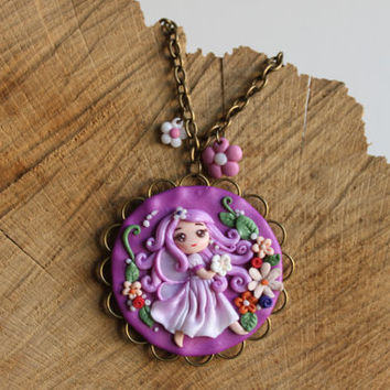 Spring doll necklace fimo -- Circular purple pendant with flowers and brass frame in polymer clay // Fimo jewelry
