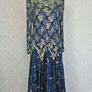Vintage 1980s Lace + Flounce Hem + Sequin Dress