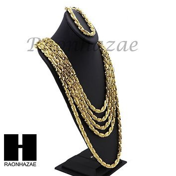 NEW 14k Gold Finish 8mm MIGOS DIGITAL ROPE Chain Necklace Bracelet Various SetA