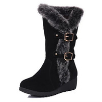 Women's Shoes Suede Wedge Heel Snow Boots / Round Toe Boots Casual