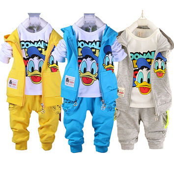 Kids Clothes Set Toddler Boys Clothing Baby Boys Cartoon Hello Kitty Vest Jacket T Shirt Pants Donald Duck Vetement Enfant