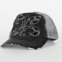 Rhinestone Fleur Trucker Hat - Women's Hats | Buckle