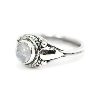 Sterling Silver Round Rainbow Moonstone Bali Ring
