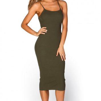 Rebekah Green Casual Ribbed Spaghetti Strap Bodycon Midi Dress