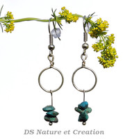 Fashion dainty earrings, turquoise stone jewelry, chrysocolla silver earring, dainty fashion jewelry chrysocolla, natural turquoise earrings