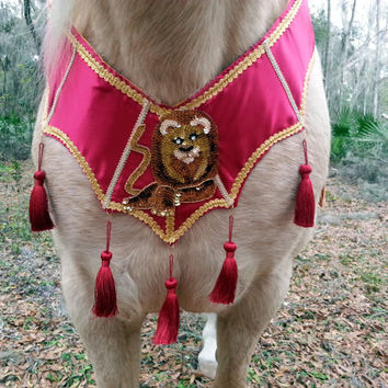 Camelot Lion Equine Breast Collar - Horse Costume - Medieval Knights Horse - Equine Costume Red and Gold