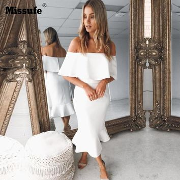 Missufe 4 Colors Midi Length Slash Neck Sexy Women Party Dress Mermaid Ruffles Robe Female Bandage Summer Dresses 2018 Vestidos
