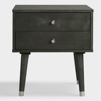 Gray Wood Caleb 2 Drawer Accent Table