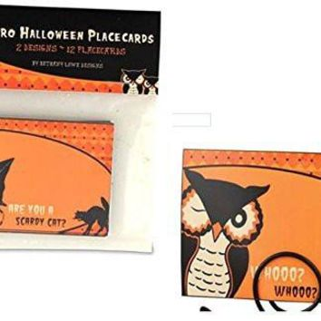 BETHANY LOWE Halloween Retro Design Placecards Black Cat and Owl