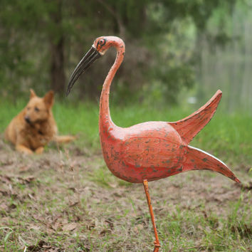 Hand Forged & Painted Iron Pink Bird with Metal Base