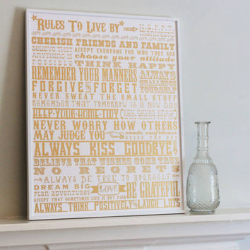 'Rules To Live By' Metallic Gold Screen Print | Award