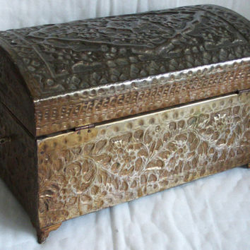 LARGE pirate treasure CHEST vintage brass & wood ornate wooden box handmade repousse hand hammered STORAGE keepsake olive green container