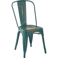 OSP Bristow Metal Stackable Chairs, Antique Turquoise Finish (Set of 2)