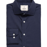 Spread Collar Dress Shirt in Navy Pindot
