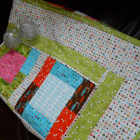 Single Bed Patchwork Quilt - Child's comfort blanket - Quilted Throw - greens, white and blue