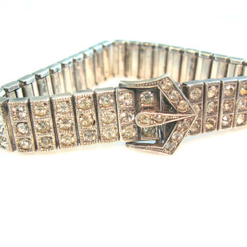 Art Deco Bracelet. Sterling Silver Paste Rhinestone. PAYCO Signed. Antique Buckle Bracelet. Vintage 1920s Wedding Jewelry