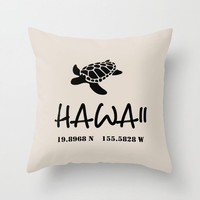 Hawaii Throw Pillow, Map coordinates, longitude and latitude, simple design, sea turtle, Hawaiian Islands, coastal