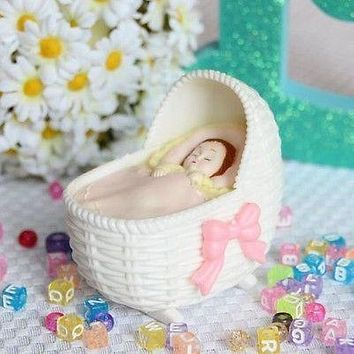 Pink Bassinet with Sleeping Baby Girl Favor Craft DIY Baby Shower Gender Reveal