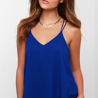 Fly By Birdie Royal Blue Tank Top
