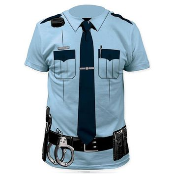 Men Police 3D T Shirt Doctor Gentleman Adult Funny Party Cop Pirate Vampire Pilot Sailor Uniform Halloween Cosplay Top