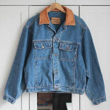 ONETOW TIMBERLAND Denim Jacket Leather Jeans Classic Medium Blue Indigo Camel Brown Vintage 9