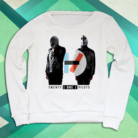 Twenty One Pilots consist of Tyler Joseph and Josh Dun white sweatshirt