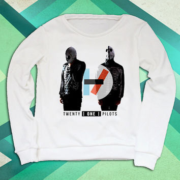 376add6ab253d Twenty One Pilots consist of Tyler Joseph and Josh Dun white sweatshirt