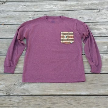 Navajo Aztec Tribal Light Burgundy Pocket Tee Long Sleeve