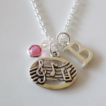 Initial necklace, Treble Clef Necklace, Musical notes necklace, Personalized Necklace, Hand Stamped Necklace, Music student Teacher Gift