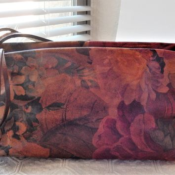 B-Kuer by Carven Paris Artisan Crafted Leather Rust Floral Shoulder Bag Purse