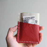White and Red Leather Wallet, Leather Card Holder, Mens Wallet, Womans Wallet