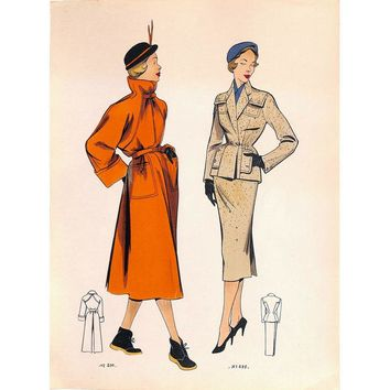 Pre-owned French Fashion, 1951, Suit and Raincoat