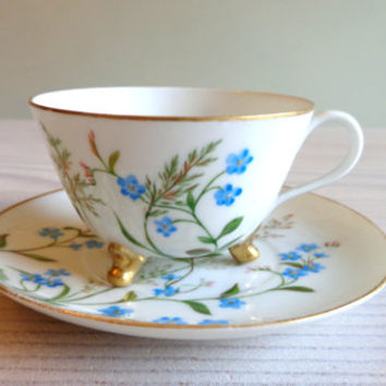 Vintage three-footed teacup with forget-me-nots,  footed teacup, china three-footed teacup