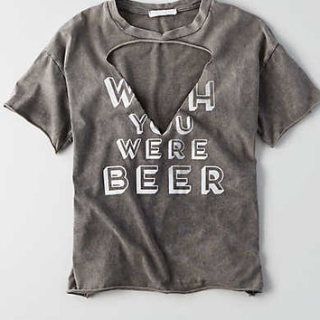 Don't Ask Why Cut-Out V-Neck Graphic T-Shirt, Black
