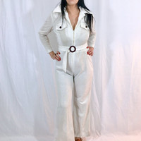 Vintage 60s 70s Sears Oatmeal Polyester Stretch Open Butterly Collar High Waisted Wide Leg Bellbottom Jumpsuit M