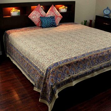 Block Print Tapestry Wall Hanging Cotton Floral Tablecloth Spread Blue Red Full